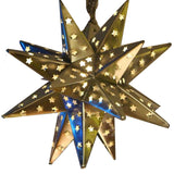 Silver Metal Hanging Star Lamp With Star Cutouts - Candlestock.com