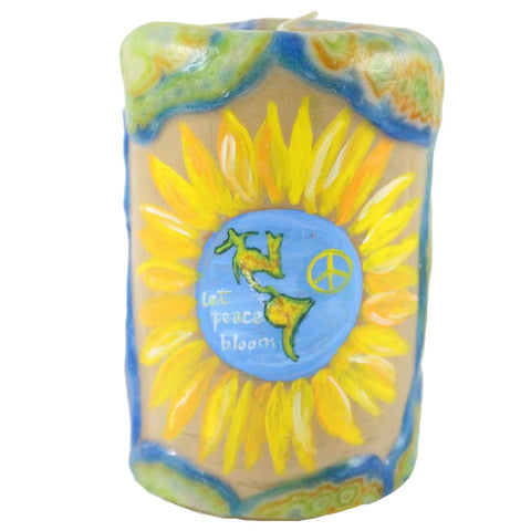 "Painted Veneer Pillar Candle - ""Let Peace Bloom"" Earth Sunflower 4X6 - Candlestock.com"