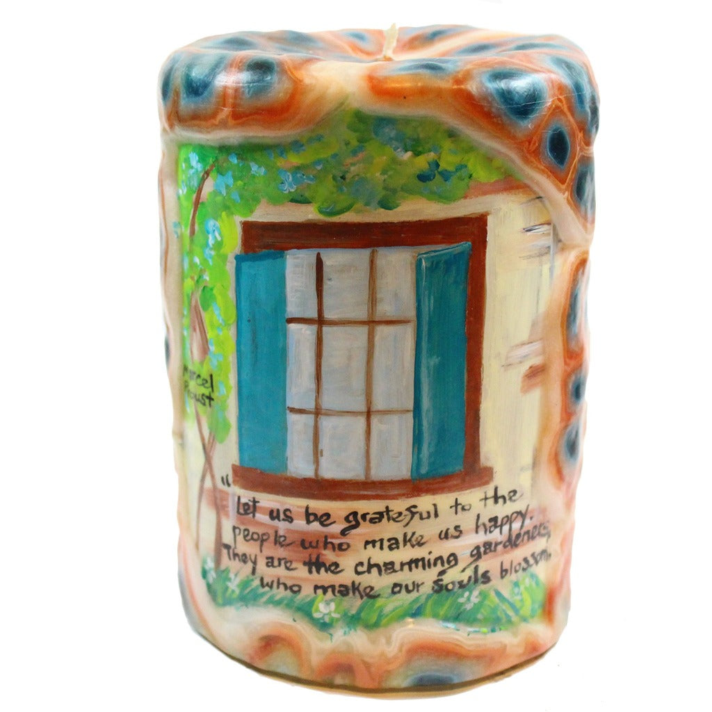 "Quote Pillar Candle - ""Let us be grateful to the people who make us happy; They are the charming gardeners who make our souls blossom"" Marcel Proust - 4X6 - Candlestock.com"