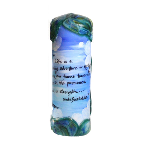 "Quote Candle - ""Life is either a daring adventure or nothing. To keep our faces toward change and behave like free spirits in the presence of fate is strength undefeatable."" Helen Keller"