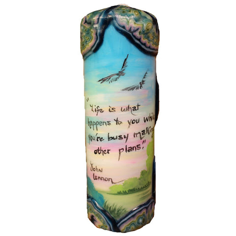 "Quote Candle - ""Life is what happens to you, while you're busy making other plans"" John Lennon"