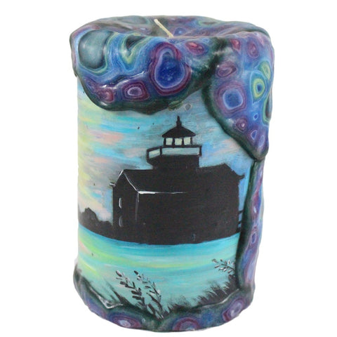 Painted Pillar Candle - Lighthouse Silhouette - Candlestock.com