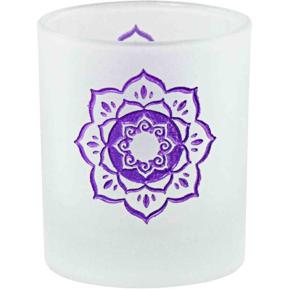 Frosted Glass With Lotus Design Votive Candle Holder - Candlestock.com