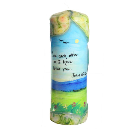 "Quote Pillar Candle - ""Love each other as I have loved you"" John 15:12 - Candlestock.com"