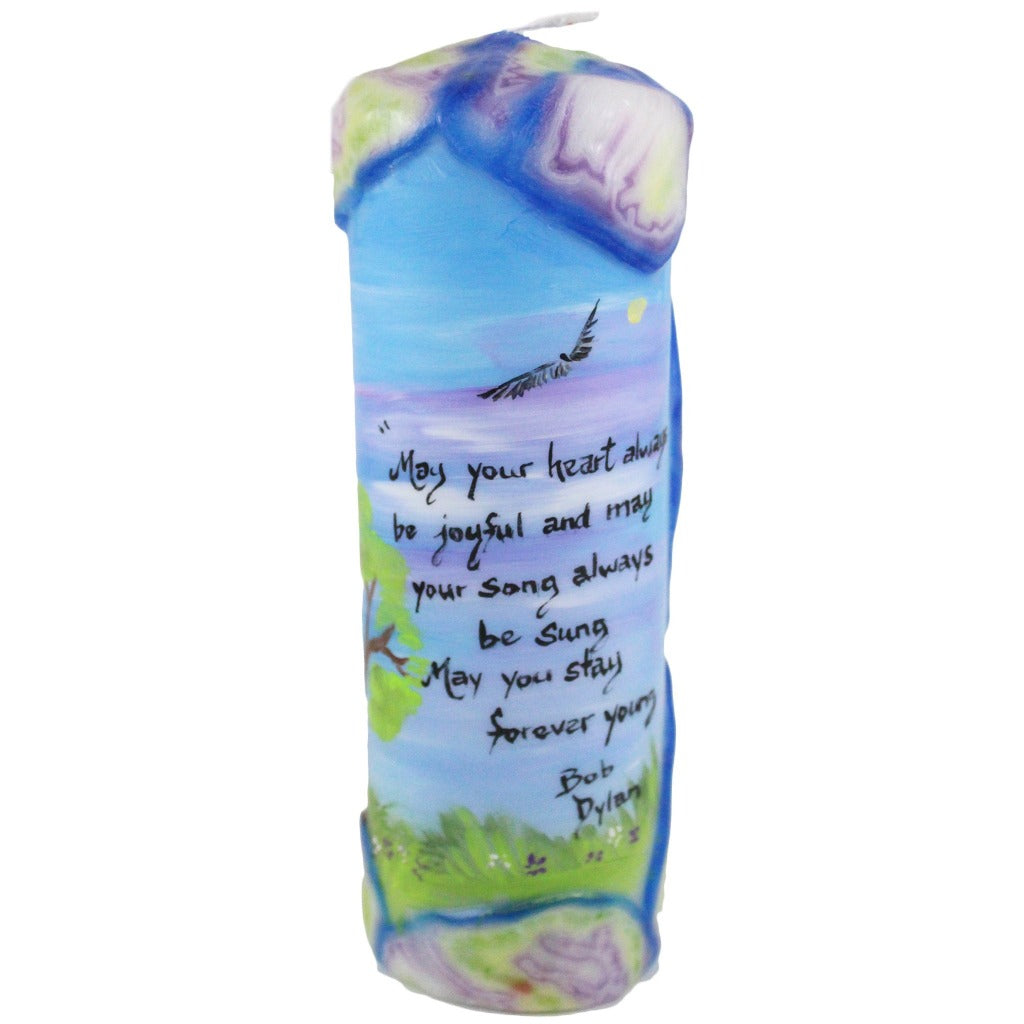"Quote Candle - ""May your heart always be joyful, may your song always be sung, may you stay forever young"" Bob Dylan - Candlestock.com"