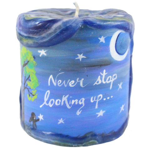"Painted Veneer Pillar Candle - ""Never Stop Looking Up..."" 4X4 - Candlestock.com"