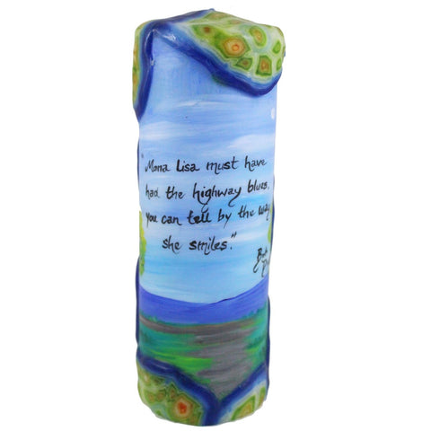 "Quote Candle - ""Mona Lisa musta had the highway blues, you can tell by the way she smiles"" Bob Dylan - Candlestock.com"