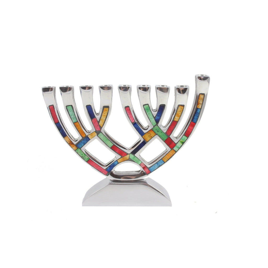 Multicolored Inlay Menorah - 6 inches - Candlestock.com