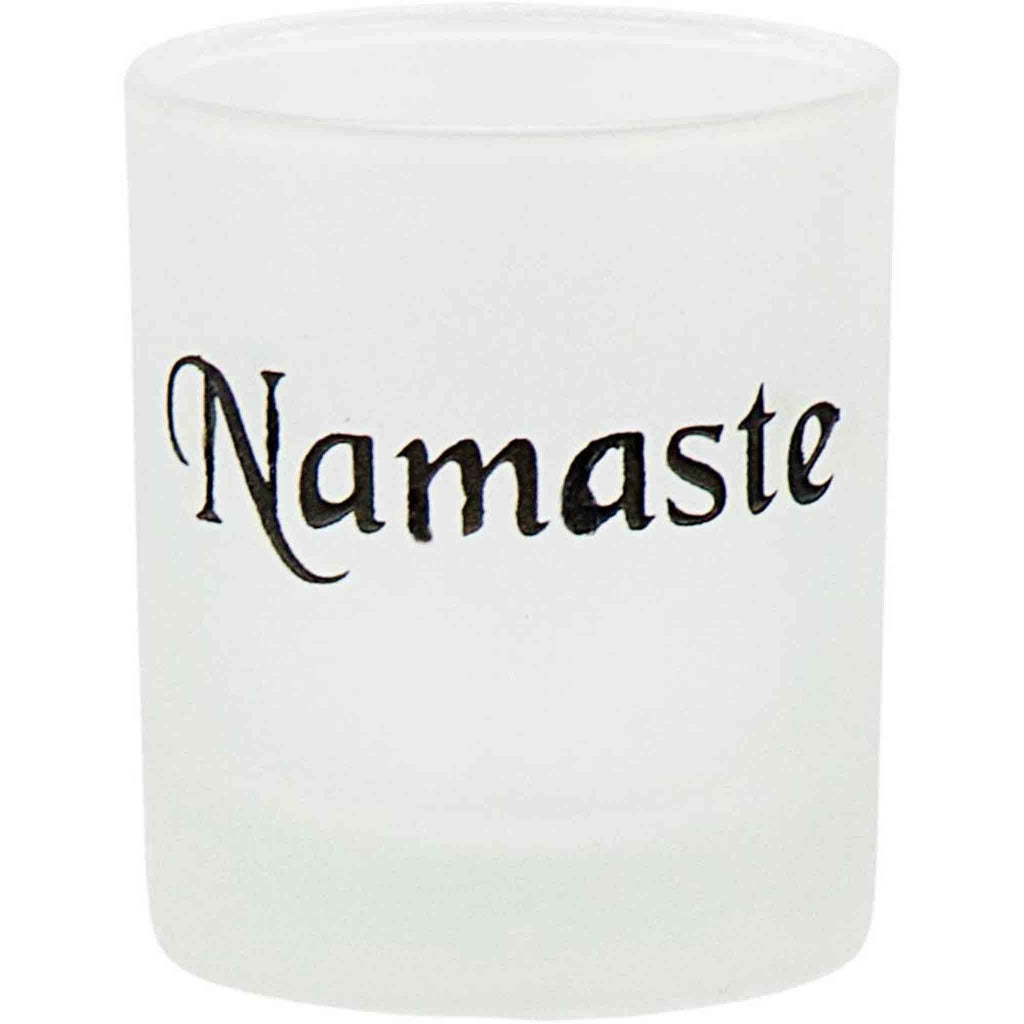 Frosted Glass With 'Namaste' Etching Votive Candle Holder - Candlestock.com