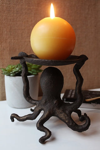 Gold Metal Octopus Pillar Candle Holder - Candlestock.com