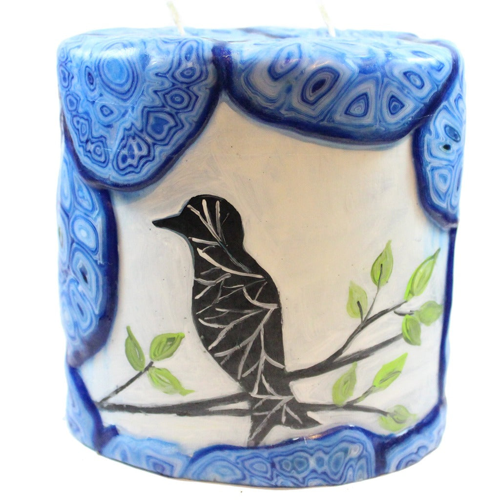 Painted Oval Candle - Black Bird On Branch - Candlestock.com