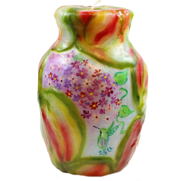 Painted Veneer Vase Candle - Flowers With Hummingbird - Candlestock.com
