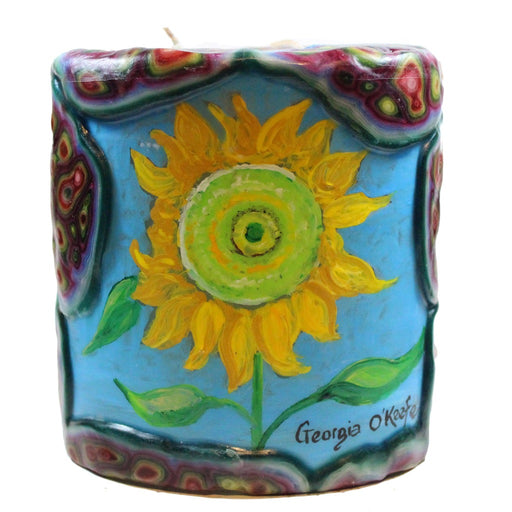 Painted Oval Veneer Candle - Georgia O'Keefe Sunflower - Candlestock.com