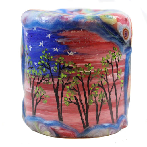 Painted Veneer Pillar Candle - Trees With Sunset 4X4 - Candlestock.com