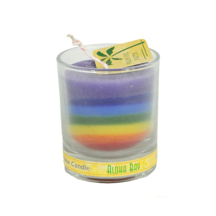 2.5 inch Rainbow Palm Wax Votive Jar Candle - Candlestock.com