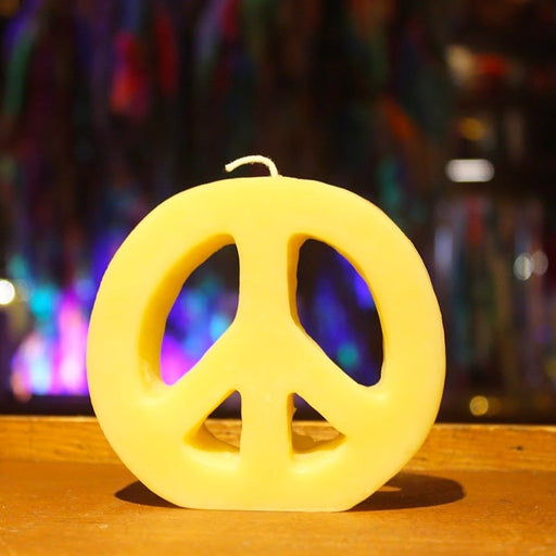 beeswax peace sign candle - candlestock.com