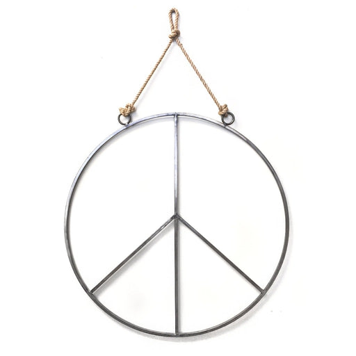 Large Hanging Metal Peace Sign With Jute