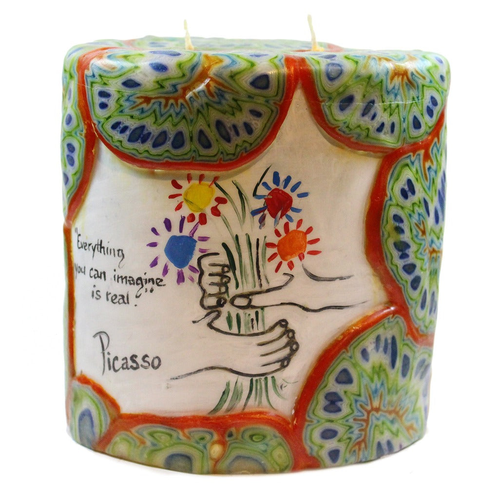 "Painted Oval Veneer Quote Candle - ""Everything you can imagine is real."" Picasso - Candlestock.com"