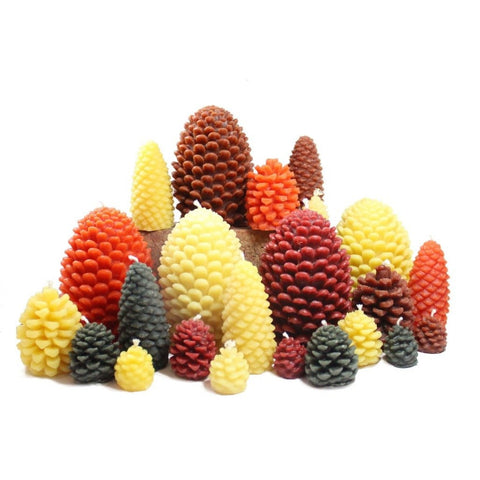 Candlestock Beeswax Pinecone Candle In Multiple Sizes and Colors