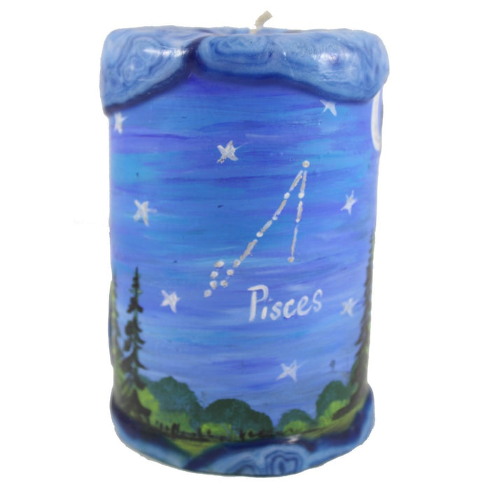 Pisces Painted Veneer Zodiac Pillar Candle - Candlestock.com