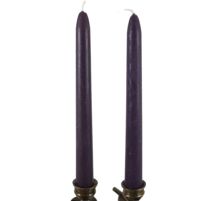Beeswax Rounded Top Taper Candle Pair Plum Purple - Candlestock.com