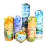 "Quote Pillar Candle - ""Stretching his hands up to reach the stars, too often man forgets the flowers at his feet"" Jeremy Bentham - Candlestock.com"