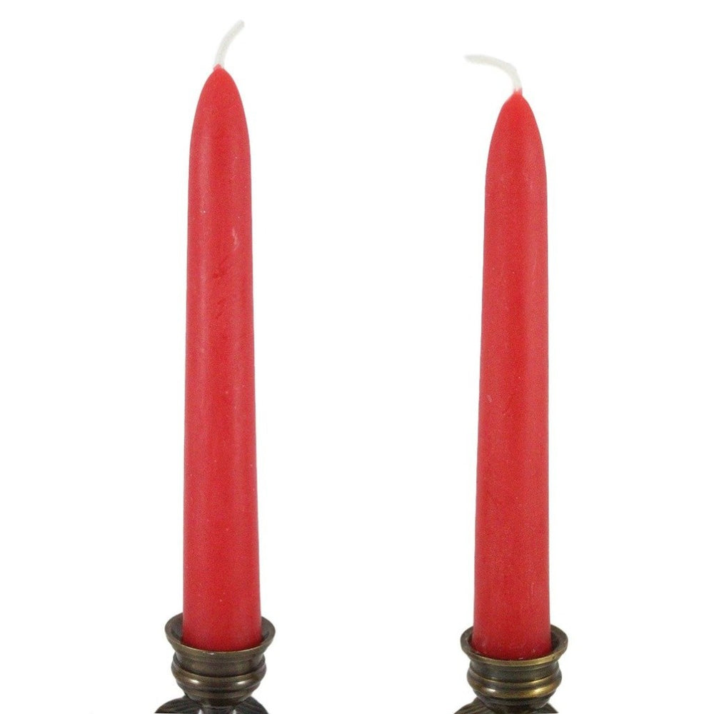 Beeswax Rounded Top Taper Candle Pair Rose Red - Candlestock.com