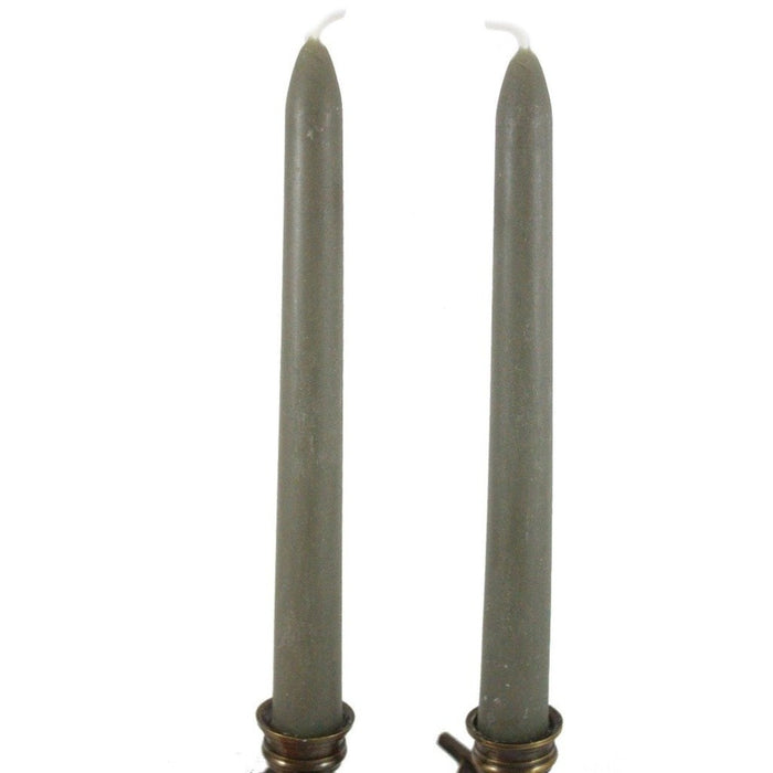 Beeswax Rounded Top Taper Candle Pair 8 inch Sage - Locally Handmade With All Natural Beeswax - Candlestock.com