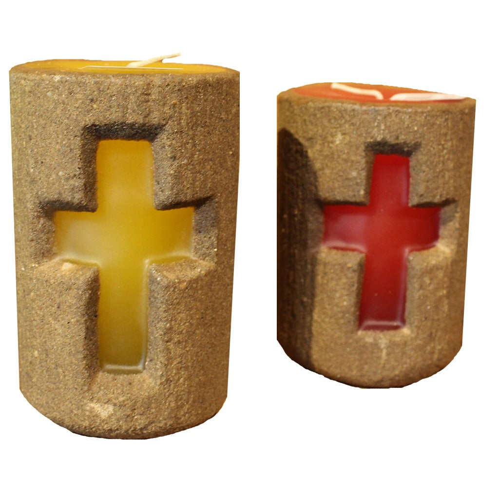 Sand Cross Pillar Candle - Candlestock.com