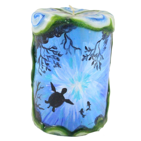 Painted Pillar Candle - Sea turtle - Candlestock.com