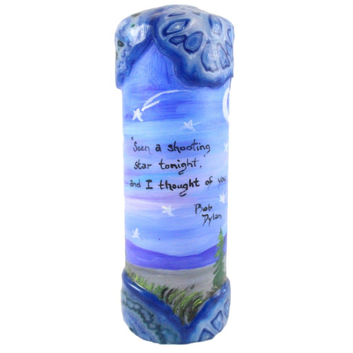 "Quote Candle - ""Seen a shooting star tonight and I thought of you"" Bob Dylan - Candlestock.com"