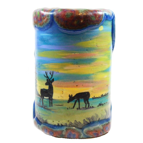 Painted Veneer Pillar Candle - Deers With Sunset 4X6 - Candlestock.com