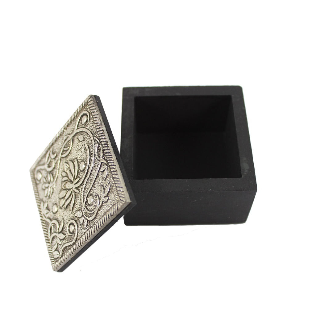 Silver Metal Lotus Trinket Box