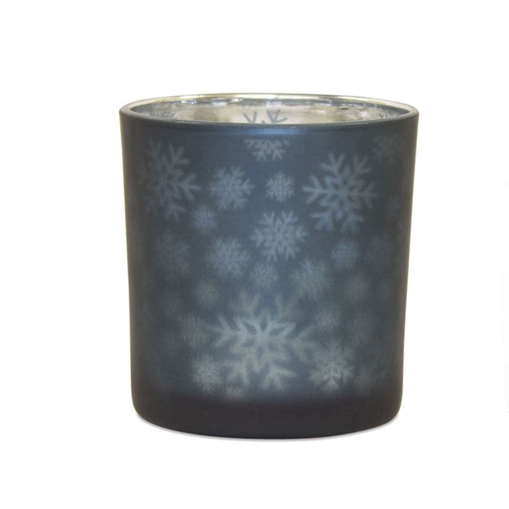 Blue Mercury Glass Snowflake Tea Light Candle Holder