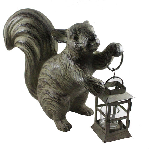 Antiqued Green Metal Squirrel Tea Light Candle Lantern - Candlestock.com