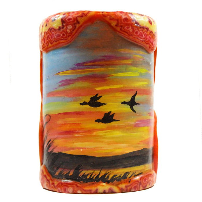 Painted Silhouette Pillar - Sunset With Geese - Candlestock.com