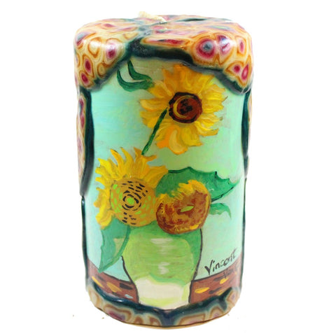 Van Glow Painted Pillar Candle - Sunflowers With Mint Background - Candlestock.com