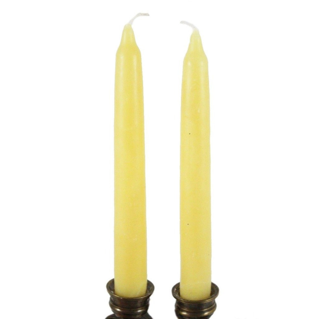Beeswax Rounded Top Taper Candle Pair Natural - Candlestock.com