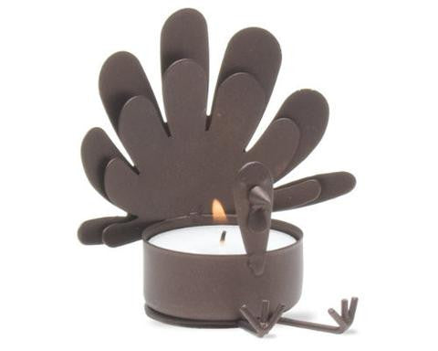 Brown Metal Sitting Turkey Tea Light Candle Holder - Candlestock.com