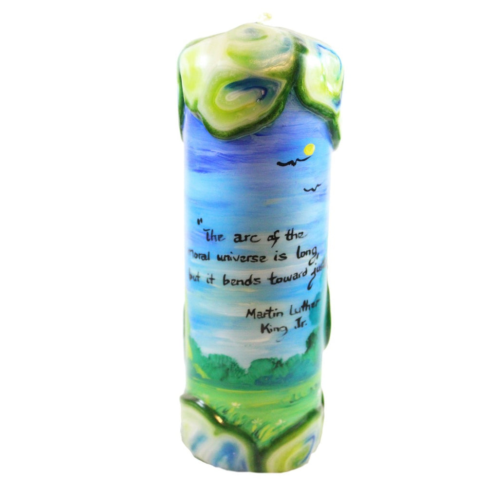 "Quote Pillar Candle - ""The arc of the moral universe is long, but it bends toward justice"" Martin Luther King Jr. - Candlestock.com"