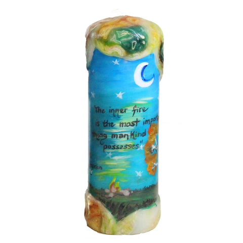 "Quote Candle - ""The inner fire is the most important thing mankind possesses"" Edith Sodergran"