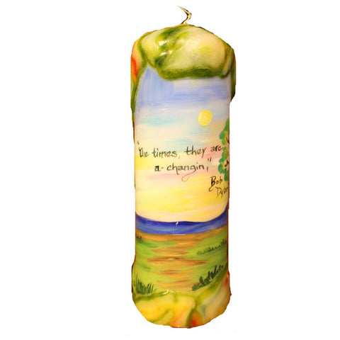 "Quote Pillar Candle - ""Mona Lisa musta had the highway blues, you can tell by the way she smiles"" Bob Dylan - Candlestock.com"