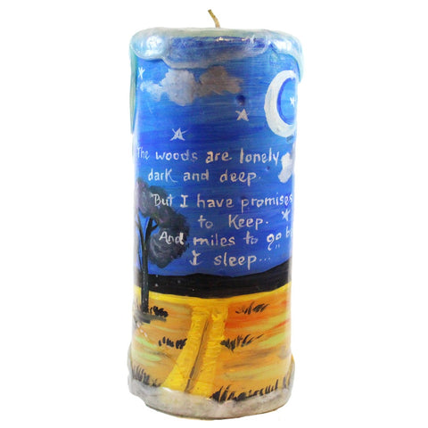 "Quote Pillar Candle - ""The woods are lonely dark and deep. But I have promises to keep and miles to go before I sleep..."" Robert Frost - Candlestock.com"