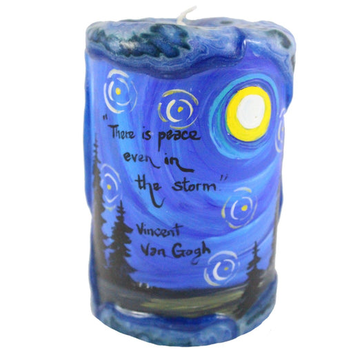 "Painted Veneer Pillar Candle - ""There is peace even in the storm."" -Vincent Van Gogh 4X6 - Candlestock.com"