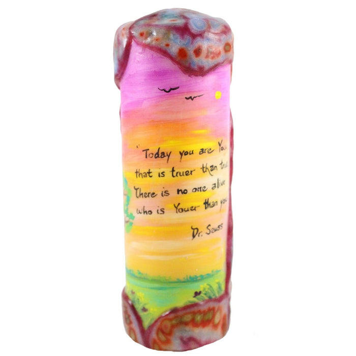 "Quote Candle - ""Today you are You, that is truer than true. There is no one alive who is Youer than You."" Dr. Seuss - Candlestock.com"