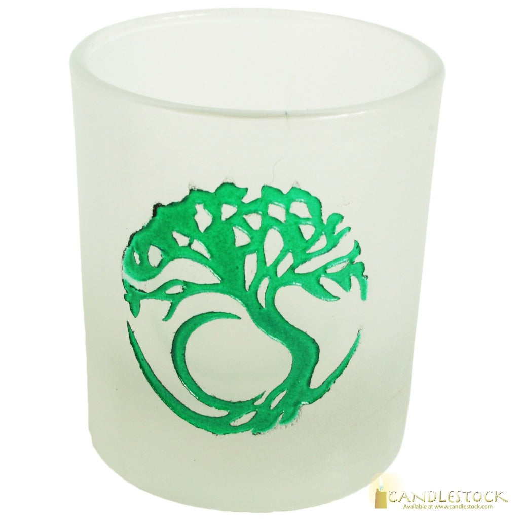 Frosted Glass With Tree Of Life Design Votive Candle Holder - Candlestock.com