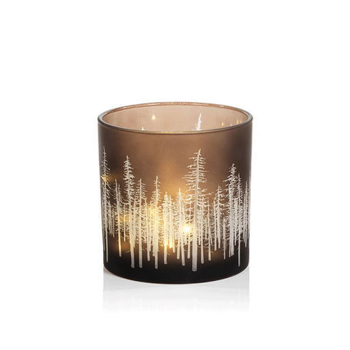 Birch Etched LED Hurricane Tea Light Candle Holder