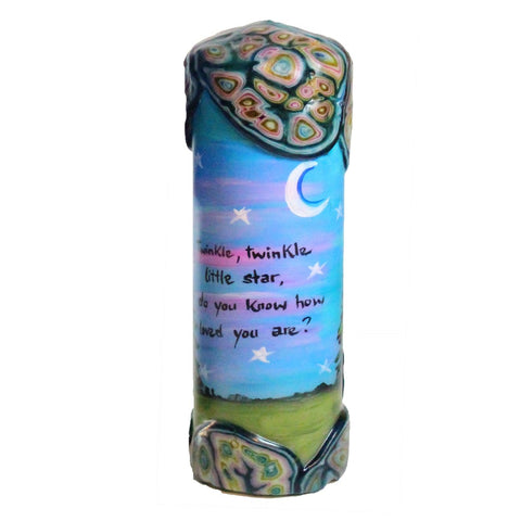 "Quote Pillar Candle - ""Twinkle, twinkle little star, do you know how loved your are?"" - Candlestock.com"
