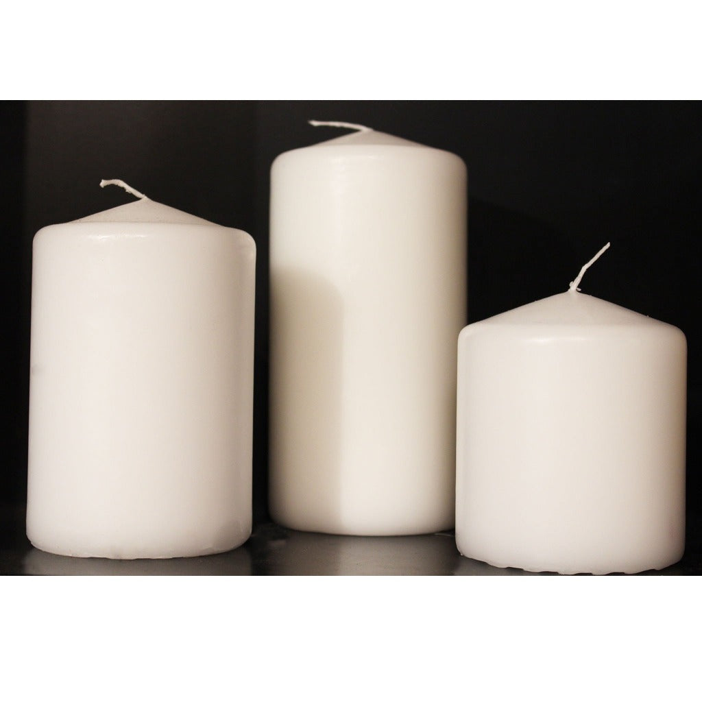 White Utility Pillar Candles - Candlestock.com