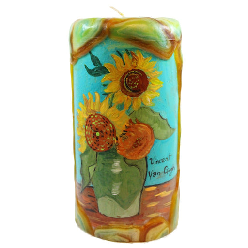 Van Glow Painted Pillar Candle - Sunflowers With Teal Background - Candlestock.com